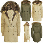 WOMEN LADIES PARKA HOODED QUILTED LEOPARD FUR FISHTAIL PADDED WINTER JACKET COAT