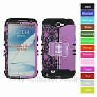For Samsung Galaxy Note 2 Purple Floral & Anchor Hybrid Rugged Impact Case Cover