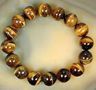 Pretty 8mm-20mm Men's Tiger's Eye Mala Power Bead Stretch Bracelet Bangle