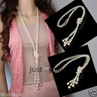New Fashion Womens Artificial Pearls Long Sweater Tassels Chain Charms Necklace