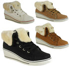 NEW WOMENS LADIES ANKLE FAUX FUR LACE UP HI-TOP WEDGE SHOES BOOTS TRAINERS SIZE