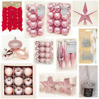PINK Collection Christmas Decorations Baubles Stars Cones Tinsel Tree Topper