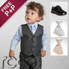 Grey Page Boy Suits Black Shoes Boys Elasticated Tie