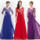 3/4 Sleeve Sheer Lace Rhinestone V-neck Evening Gown 09053