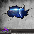 SPACE PLANETS UNIVERSE WORLD CRACKED 3D - WALL ART STICKER BOYS DECAL WSDFC81