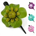 """Handmade"" Leather Flower Hair Clip Barrette Bow Rose 3.25 in Choose Color cab2"