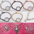 Magnetic Crystal Living Memory Locket Silver Bracelet For Floating Charms NEW