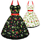 Hearts And Roses London Cherry Print Rockabilly Pinup Party Swing Prom Dress