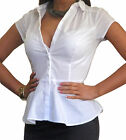 New Blouse Womens Shirt Tops White Short Sleeve Top Size 8 10 12 14 16 18 20
