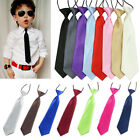 New 18 Colors Kids Children Boys Girls Wedding Solid Neckties Plain Pretied Tie