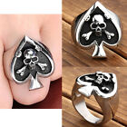 Retro Womens Mens Stainless Steel Skull Poker Spade Band Rings Gift us 9-13 Punk