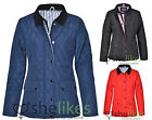 Womens Long Sleeve Jacket Ladies Quilted Zip Button Warm Jacket Trendy Coat 8-14