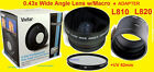 0.43X WIDE ANGLE LENS 62mm+ADAPTER for CAMERA NIKON L830 L840 +UV 62mm COOLPIX