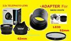2.2x TELEPHOTO LENS 62mm+ADAPTER to CAMERA NIKON L830 L840 +UV FILTER COOLPIX