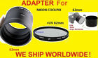 2 PART ADAPTER TUBE+UV FILTER 62mm for CAMERA NIKON COOPLIX L810 L820 L830 L840