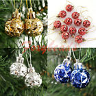 12X Glitter 28MM Round Xmas Christmas Balls Baubles Tree Decoration Ornament fb