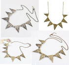 Hot Silver Bronze Metal Weave Triangle Charms Statement Necklace