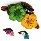 """Handmade"" Leather Flower Hair Comb Barrette Clip Bow Cosmos Choose Color fea1"