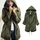 S M L Hoodie Army Green Drawstring Military Casual Trench Parka Lady Jacket Coat