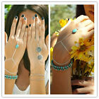 Faux Turquoise Charm Silver Celebrity Hand Harness Bracelet Bangle Chain Ring