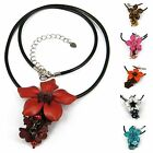 """Handmade"" Leather Flower Necklace Pendant Charm 18"" Stainless Steel Chain fda1"