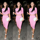 Womens Pink Ribbed Crop Top and Bodycon Pencil Midi Skirt Boutique Two Piece Set