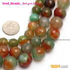 Natural Round Faceted Red Green Agate Jewelry Making Beads Strand 15' Size Pick