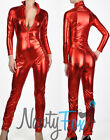 Sexy Metallic Red Super Hero Wet Look Bodysuit Catsuit Halloween Costume S-3XL