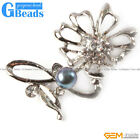 Fashion Freshwater 7-8mm Pearl With Gold Plated Flower Shape Brooch 25x52mm