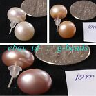 Fashion Pretty Jewelry 10mm Genuine Freshwater Pearl Stud Earrings 1 Pair