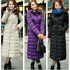 Women's Full length jacket stylish warm puffer duck down coat Hooded Long parka