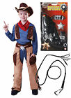 Cowboy Boys Kids Childrens Costume Outfit Fancy Dress with GUN & WHIP Age 4 - 9