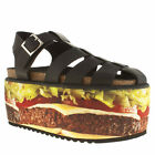 BUFFALO BURGER WOMENS BLACK LEATHER PLATFORM SANDALS SHOES