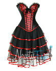 Sexy Black, Red Pin Up Burlesque Lip Kiss Print Corset,Skirt Costume Set S-2XL