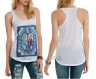Disney Frozen Elsa Anna Olaf Stained Glass Tank Top Racer Back Tee Shirt S-XL