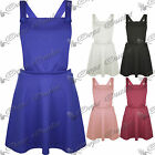 New Womens Ladies Celeb Casual Flared Basic Dungarees Pinafore Skater Dress Top