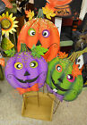 Halloween Metal Jack o Lantern Yard Art on Garden Stake NEW