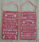Festive shabby chic Christmas red & white wooden plaque sign hanging decoration