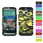 For HTC One M8 / W8 Military Camo Design Hybrid Rugged Armor Phone Case Cover