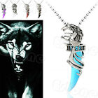 Fashion Vintage Men Crystal Wolf Stainless Steel Pendant Necklace New Arrival