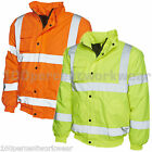 High Visibility Bomber Jacket Padded Waterproof PU Coat Hi Viz Vis Yellow Orange
