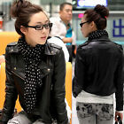 2014 New Women Black Leather Coat Short Bomber Outerwear Motorcycle Jacket