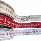 Happy Christmas Grosgrain Ribbon - Choose Colour Length and Width