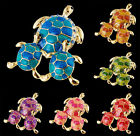 New Six colors Tortoise Animal Crystal Rhinestone Brooch Pin Party hot Xmas Gift
