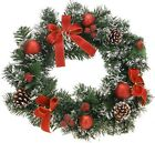 Pretty 40cm Traditional Christmas Wreath Door Wreath with Bows & Baubles
