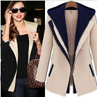 New Fashion Autumn Winter Coat Women Leave Two Hooded Stitching Overcoat Suit