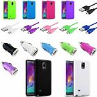 TPU Jelly Gel Back Case Skin+10ft Cord+Car Charger For Samsung Galaxy Note 4 IV