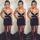 Womens Boutique Two Piece Set Crop Top and Bodycon Skirt Party Dress Celeb LBD