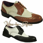 New 1920's 30's 40's mens Black White Leather Gangster Jazz Gatsby Brogues Shoes