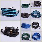 """4mm Handmade Mixed Crystal and Gemstones Beads Wrap Leather Bracelet 35"""""""